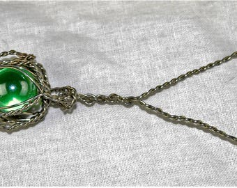 Wire Wrapped Green Marble (Twisted Wire)