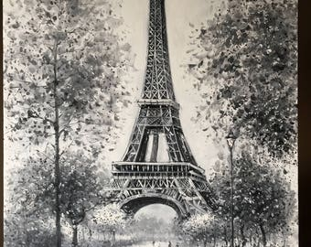Eiffel Tower Acrylic Painting