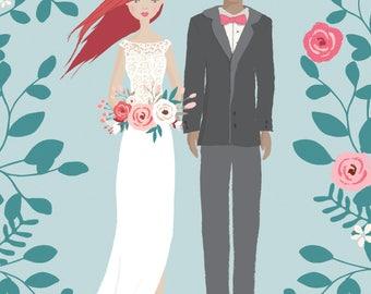 Custom Illustrated Wedding Bride and Groom Portrait *DIGITAL DOWNLOAD*