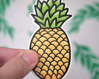 Awesome Pineapple Sticker - Pineapple Hawaii Vacation Stickers - Fruit Stickers - Hand Drawn Stickers - Vinyl Pineapple Stickers - S7