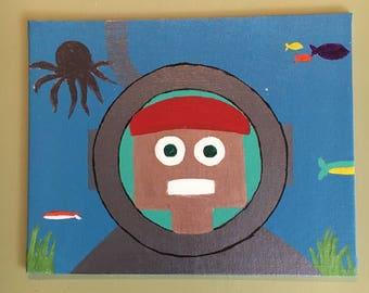 "Scuba Bot, 8"" x 10"" Robot Acrylic Painting on Canvas"
