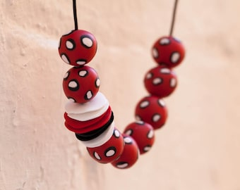 Polka Dots Polymer Clay Necklace