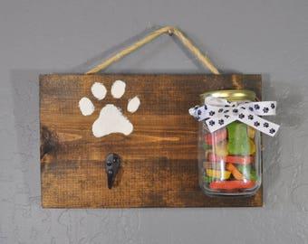 Dog leash holder with treat jar