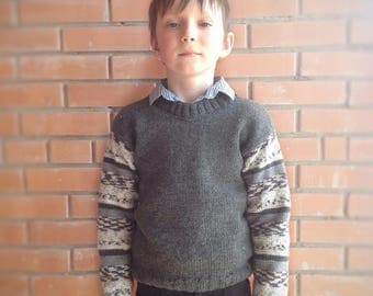 Knitted pullover for schoolboy