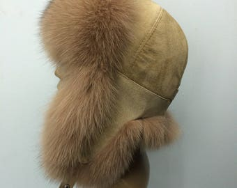 Finn Fox Fur Ushanka Hat with Suede, Saga Furs Creammy Aviator Trapper Hat