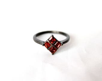 Red ruby stone ring, Sterling silver ring, Natural red gemstone ring, Oxidised jewellery