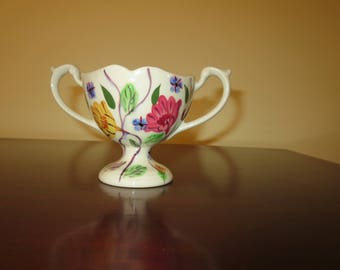 Blue Ridge Southern Pottery Open Footed Sugar Bowl Rose of Sharon Pattern