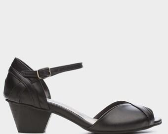 VEGAN Black Lockser High Heel Shoes, Handmade Vegan Shoes, Comfortable High Heels, Wedding Shoes
