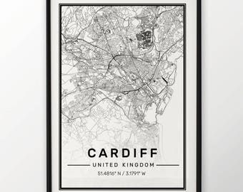 Cardiff City Map Print, Modern Contemporary poster in sizes 50x70 fit for Ikea frame All city available London, New york Paris Madrid Rome
