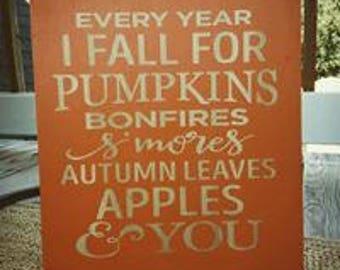 Fall Pumpkins Wood Sign