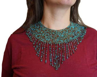 Exquisite beaded bib necklace//Mayan//Handmade//Guatemala//Handcrafted//Women's Empowerment