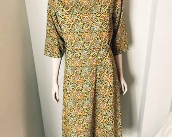 50s Yellow Elegant Paisley Shift Dress Size Large