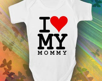 I Love My Mommy Baby Grow - Cool Retro Baby Romper
