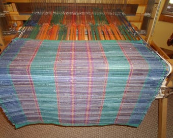 "29x26"" denim rug w/brown&teal warp"