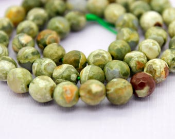 Rhyolite Faceted Round Beads Natural Gemstone (4mm 6mm 8mm 10mm)