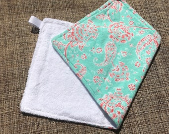 Blue and Pink Burp Cloth