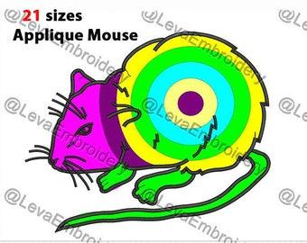 Mouse Applique Design. Machine embroidery design. 21 sizes. Mouse embroidery design. Mouse applique. Machine embroidery Mouse.
