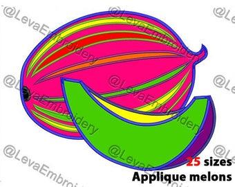Melons  Applique Design. Melons machine embroidery design. 25 sizes. Melons embroidery design.  Melons applique. Machine embroidery Melons.