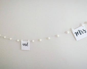 Ivory wedding felt ball garland