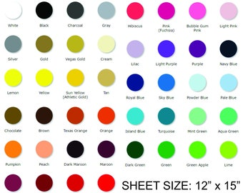 "Siser Easy Weed Easyweed Heat Transfer Vinyl HTV Iron On by the Sheet 12"" x 15"""