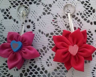 Sent free key chains of fabric flower