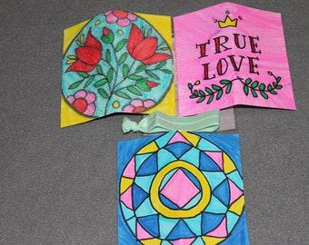 Gift tag, card, gift set, flower, geometric, sun, true love, love, star, party favor