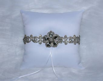 Scalloped Rhinestone Ring Bearer Pillow with Broach Embellishment
