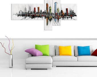 Modern Cityscape Multi Panel Abstract Art | Canvas Oil Painting | 5 Piece