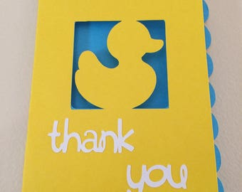 Baby shower birthday Rubber ducky thank you cards