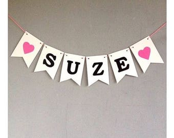 Paper name pendulum Pink to order with any name of your choice for birth, smash cake, baby shower, birthday and party, first birthday