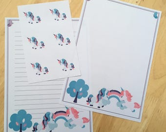 Rainbow unicorn letter writing paper with 6 envelope seals