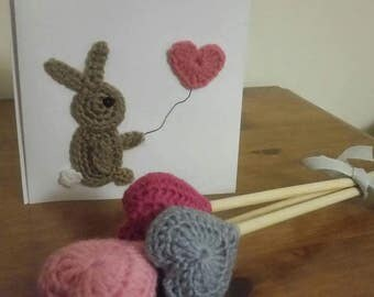 Crocheted hearts and card