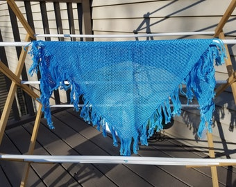 Light Blue Childs Woven Cotton Shawl