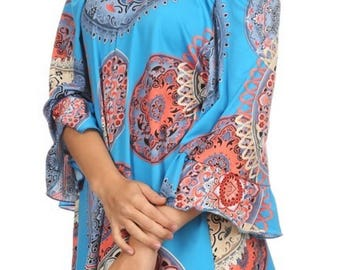 Off the Shoulder turquoise print top w/ bell sleeves