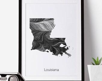 Louisiana Print, Louisiana Map, Louisiana, Office Decor, City Map Prints, Map Artnew