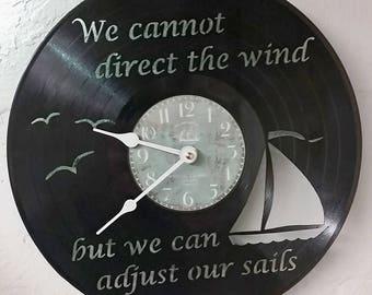 Sailing vinyl record clock