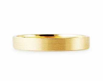 Solid 2mm 18k Yellow Gold Flat Brush Matte Finish Comfort Fit Wedding Band Ring // Simple Men's Women's Ring // All Sizes // Satin Finish