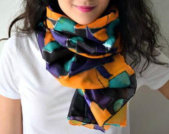 Hand Painted Silk Scarf | Gift for Her | Birthday Gift | Mother's Day Gift | Handmade | Wedding Gift | Bridesmaid Gift | Art | Colourful