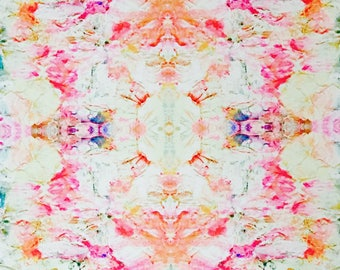 Cherry Blossom Print. Pink and Orange Floral Abstract.