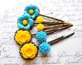 Flower Bobby Pin Set - Turquoise Blue and Yellow Flower Hair Pins -  Vintage Style Hair Accessories