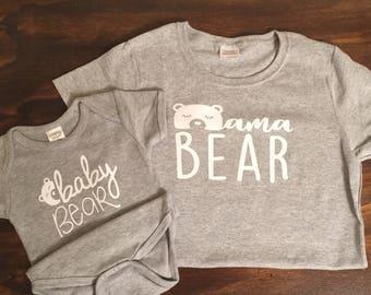 Mama Bear, Baby Bear matching shirt, onesie, baby shower gift