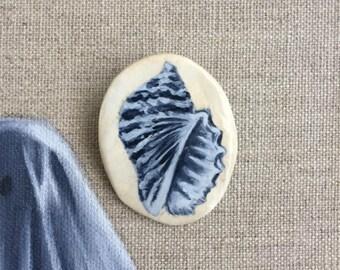 hand painted - wearable art - seashell - brooch / pin