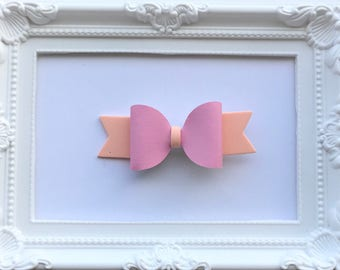 Small peach foam pink leatherette hair bow clip