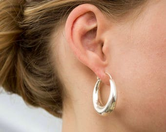 Thick Silver hoop earrings, light silver hoop earrings Small silver hoop Thick hoops Thick creole Idea wife gift for her Girlfriend gift mom