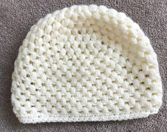 Hand Knitted Hat, Cream