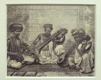 Antique engraving music instruments oriental ottoman persian men matted print original 1880s excellent condition
