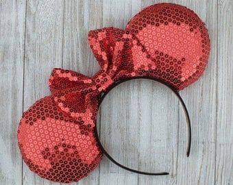Minnie Mouse Ears, Disney Ears, Mickey Ears, Coral Sequined Minnie Ears, Shiny Minnie Mouse Ears
