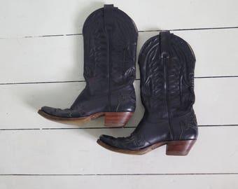 Vintage Women's Purple Cowboy Boots, Size EU 37, UK 4, US 6.5
