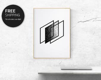 Geometric Abstract Print Art Black Modern Contemporary Interior Design Wall Decor by Blacklinebar