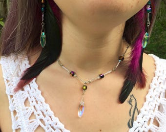 Oil spill feather earrings and necklace set